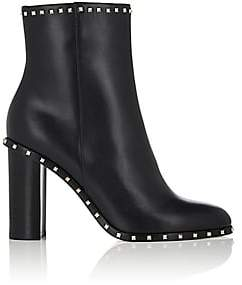 Valentino Women's Rockstud Leather Ankle Boots - Black