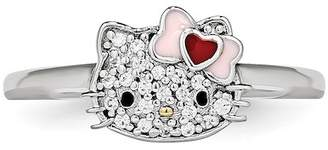 Hello Kitty Sterling Silver Heart Bow Swarovski Crystal Embellished Face Love Ring
