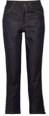 Paul & Joe Faux Pearl-Embellished Mid-Rise Straight-Leg Jeans