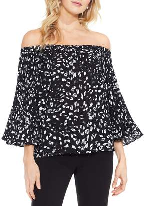 Vince Camuto Leopard-print Pleat-sleeve Top