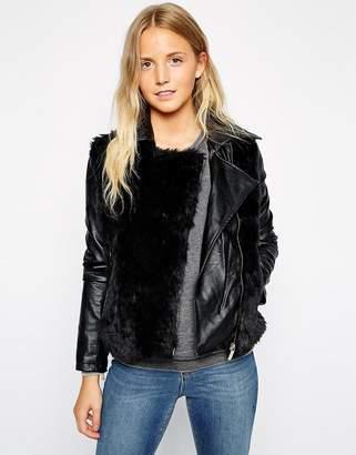 Brave Soul Biker Jacket With Faux Fur