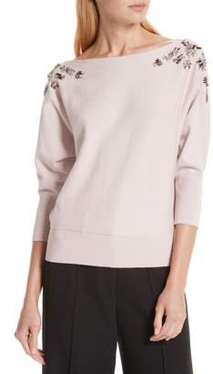 Milly Faux Gem Embellished Sweater