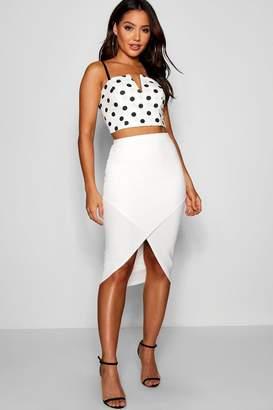 boohoo Asymmetric Split Front Midi Skirt