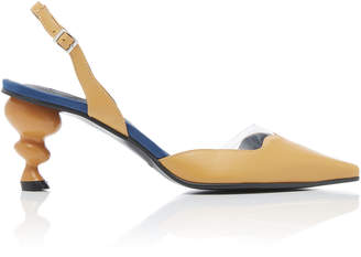 YUUL YIE Lissom Satin-Trimmed Leather Slingback Pumps