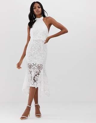Asos Design DESIGN high neck midi dress in guipure lace and peplum