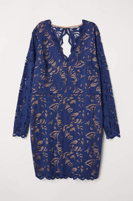 H&M H & M+ Short Lace Dress - Dark blue - Women