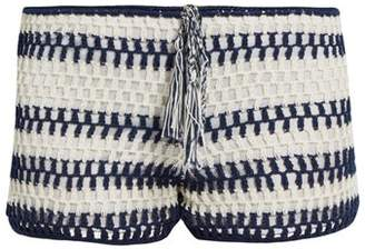 Anna Kosturova Baja Crochet Shorts - Womens - Blue Stripe