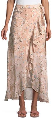 BCBGMAXAZRIA Floral Georgette Maxi Wrap Dress