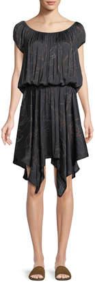 Halston Ruched-Neck Floral-Print Dress