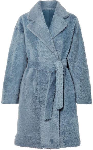 Belted Shearling Coat - Blue