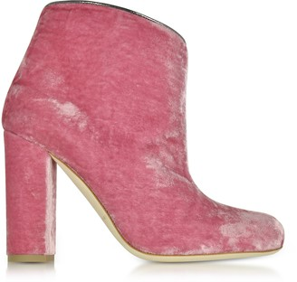 Malone Souliers By Roy Luwolt Eula Pink and Charcoal Velvet Ankle Boots