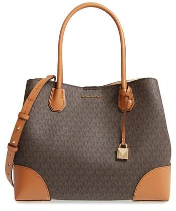 Michael Kors Large Mercer Logo Faux Leather Tote