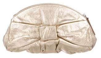 Saint Laurent Bow-Accented Leather Clutch