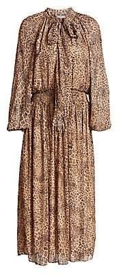 ML Monique Lhuillier Women's Animal-Print Tieneck Midi Dress - Size 0