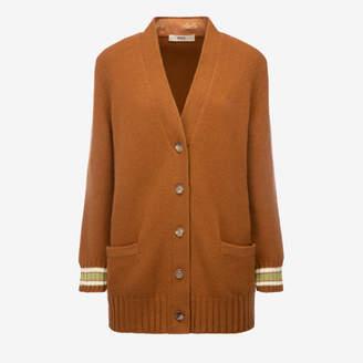 Bally Wool-Cashmere Long Cardigan Brown 44