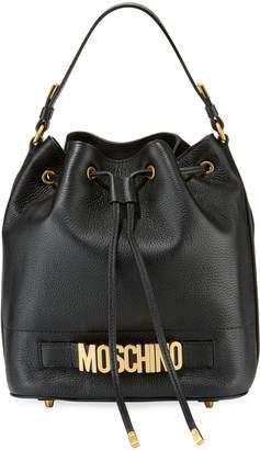 Moschino Grain Leather Logo Bucket Bag