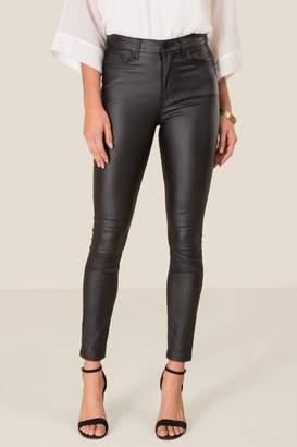francesca's Harper Heritage High Rise Coated Jeans - Black