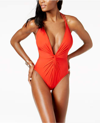 Kenneth Cole Plunge Tummy-Control Cheeky One-Piece Swimsuit Women's Swimsuit