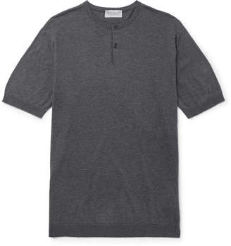 John Smedley Slim-Fit Knitted Mélange Sea Island Cotton Henley T-Shirt
