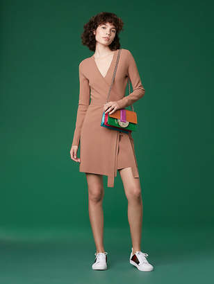Diane von Furstenberg Long-Sleeve V-neck Knit Wrap Dress