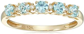 10k Yellow Gold Zircon and Diamond Accented Stackable Ring