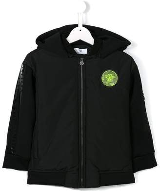 Versace logo patch hooded jacket