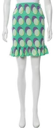 Jeremy Scott Printed Virgin Wool Skirt Turquoise Printed Virgin Wool Skirt