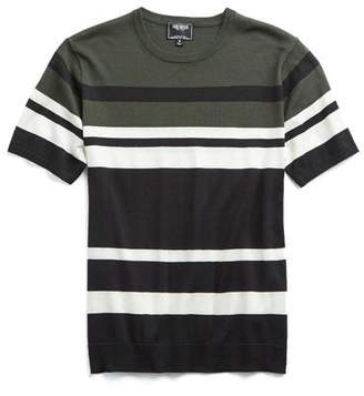Todd Snyder Italian Silk/Cotton Variegated Stripe Short Sleeve Knit Crewneck
