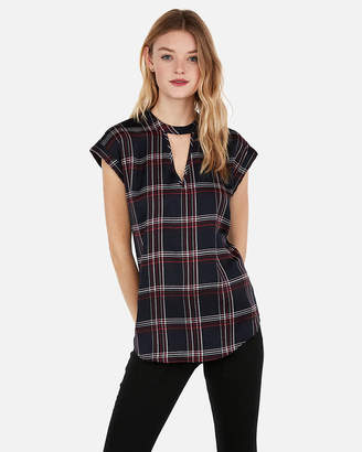 Express Satin Choker Neck Plaid Gramercy Tee