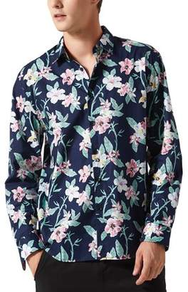 Unique Bargains Men's Floral Long Sleeve Aloha Tropical Printed Shirt