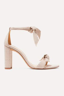 Alexandre Birman Clarita Bow-embellished Linen Sandals - Cream