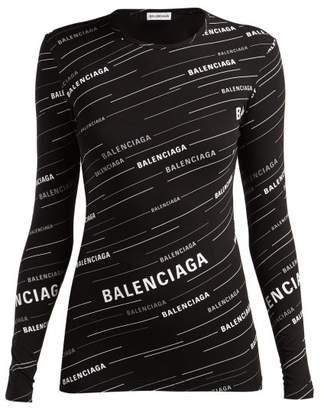 Balenciaga Diagonal Logo Print Stretch Jersey Top - Womens - Black White