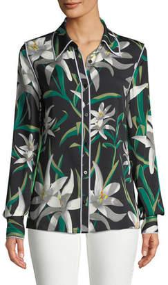 Diane von Furstenberg Long-Sleeve Collared Silk Shirt