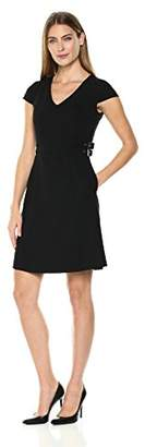 Lark & Ro Women's Sleeveless Fit and Flare Dress with Waist Buckles