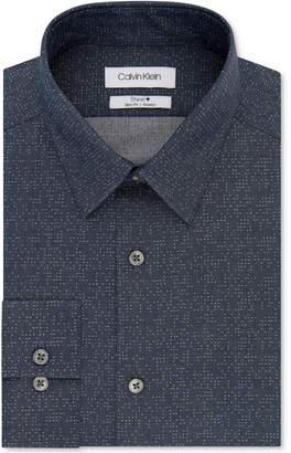 Calvin Klein Men's Steel Slim-Fit Non-Iron Performance Stretch Navy Print Dress Shirt