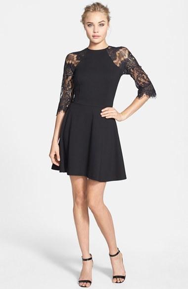 Women's Bb Dakota 'Yale' Lace Panel Fit & Flare Dress 3