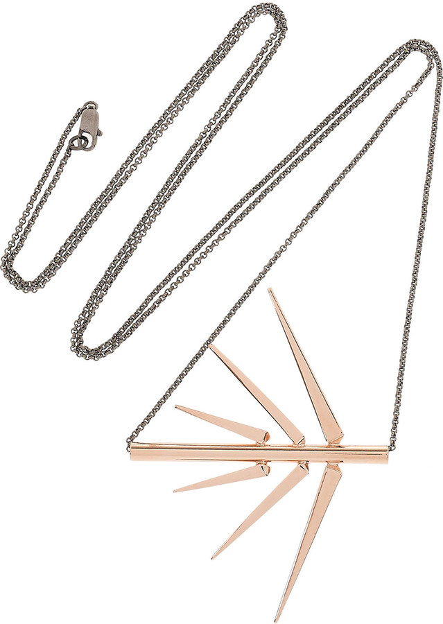 Dominic Jones Fern 23-karat rose gold-plated necklace