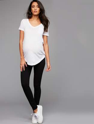 Pea Collection Good American Side Panel Honeymoon Ankle Maternity Jeans- Black