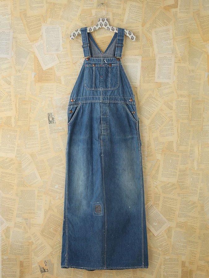 Free People Vintage Indigo Overall Dress