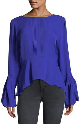 Nicole Miller Women's Solid Bell Sleeve Top