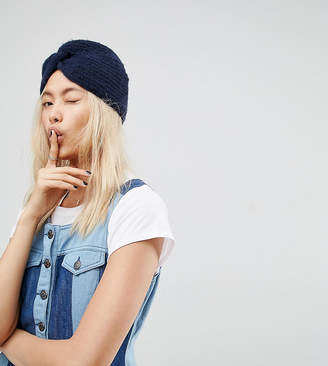 Asos Knot Front Fluffy Rib Hat