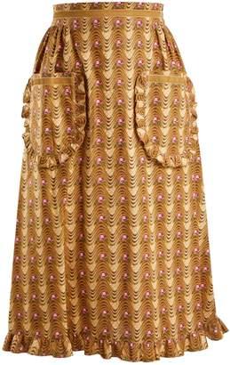 BATSHEVA Wave-print ruffled cotton skirt