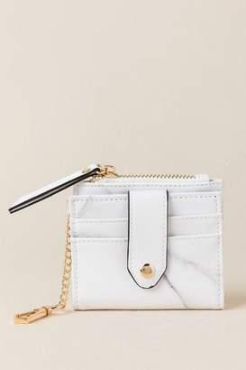 francesca's Liliana Marble Card Holder Wallet - Black/White