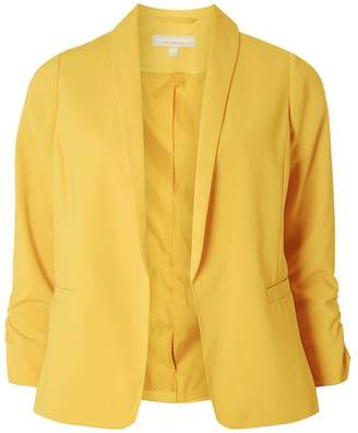 Dorothy Perkins Womens Petite Ochre Ruched Sleeve Blazer