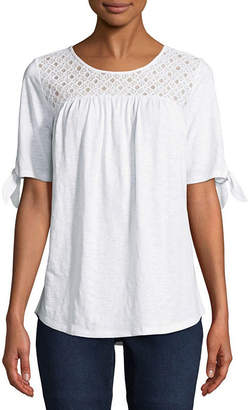 ST. JOHN'S BAY Short Sleeve Crew Neck Eyelet T-Shirt-Womens