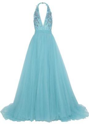 Jenny Packham Embellished Tulle Halterneck Gown