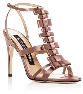 Sergio Rossi Women's Satin Bow T-Strap High-Heel Sandals