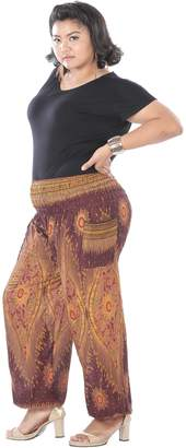 CandyHusky Women Summer Baggy Hippie Boho Genie Gypsy Yoga Harem Pants Plus Size