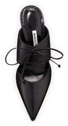 Manolo Blahnik Tintoretta Leather Lace-Up Slide Mule