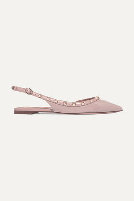 Valentino Garavani The Rockstud Patent-leather Slingback Flats - Pastel pink